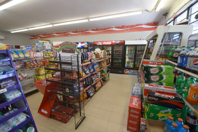 Inside the store with chips and soft drinks
