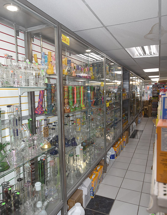 Inside the store: many bongs are for sale